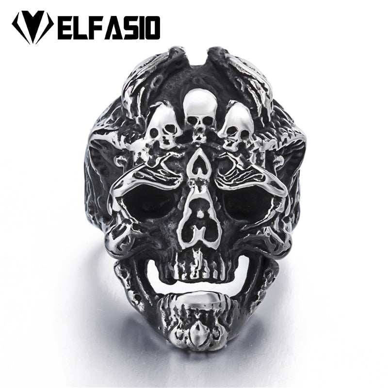 Mens Silver Skull Stainless Steel size 8-13