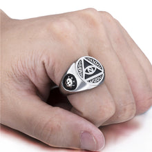 Load image into Gallery viewer, Mens Stainless Steel Illuminati Ring Size 7-15