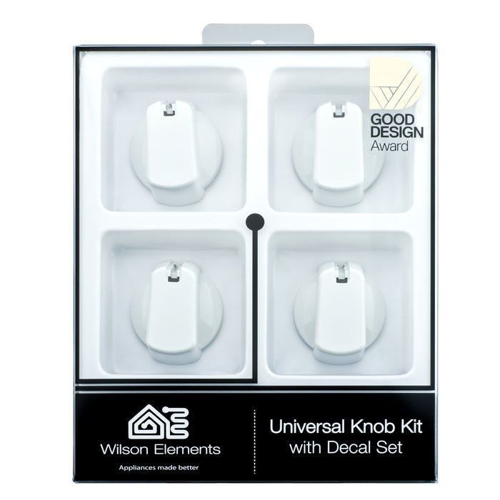 Universal Knob 55mm White 4PKT Includes decal set