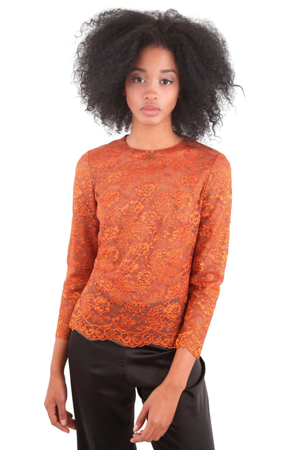 Orange Copper Pearl Lace Blouse
