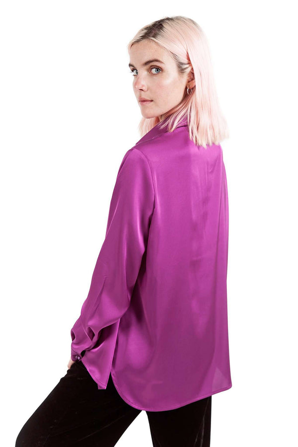 Purple Fuchsia Buttons Blouse