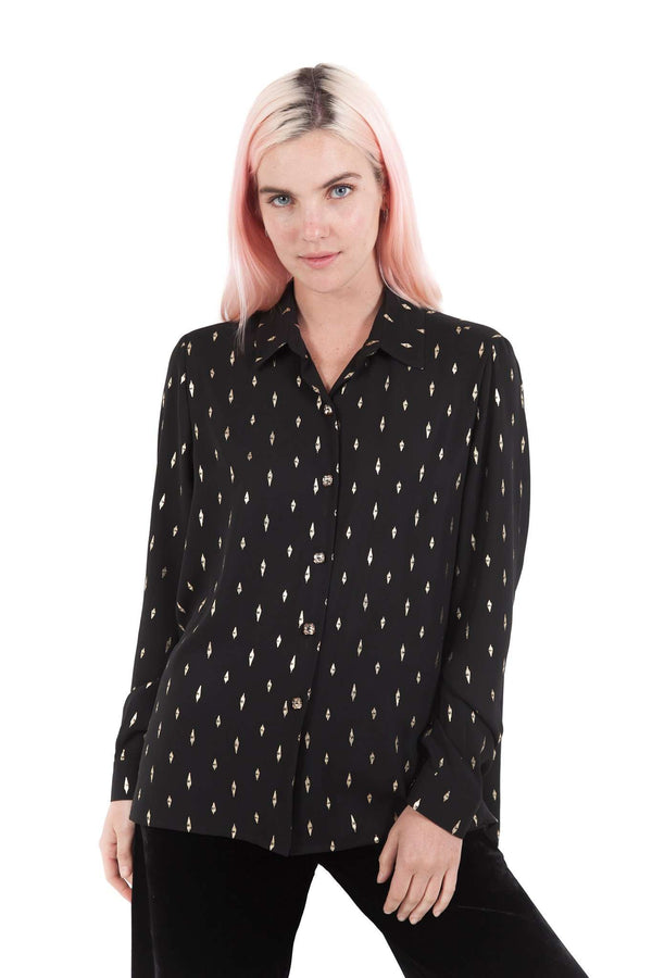Black Gold Buttons Blouse
