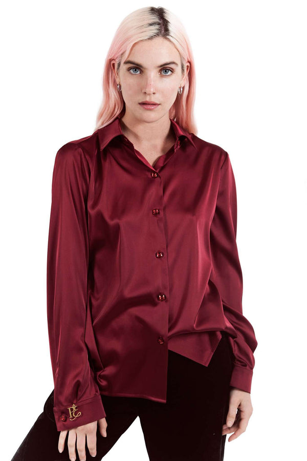 Red Wine Buttons Blouse