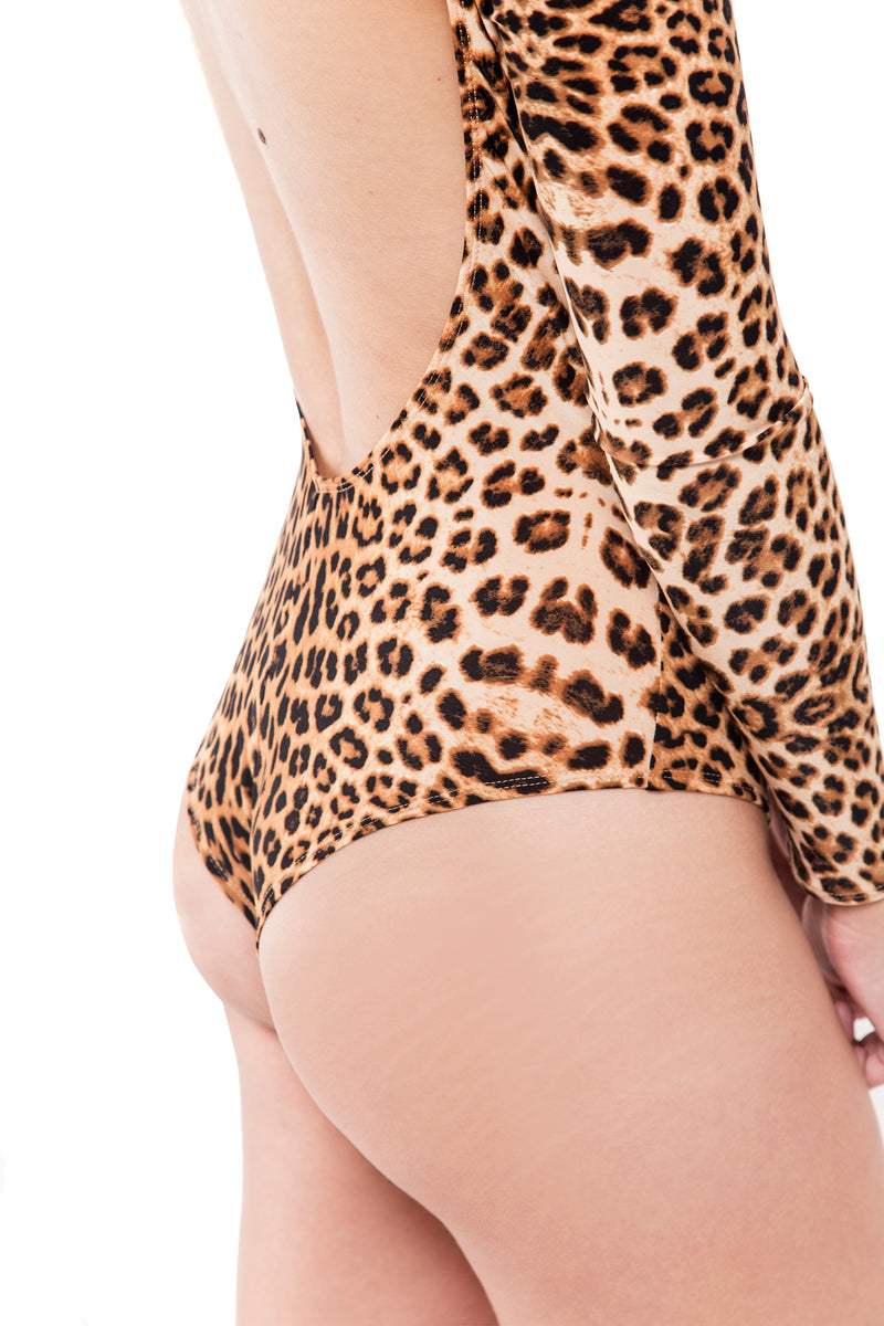 Body Manga Larga Leopardo