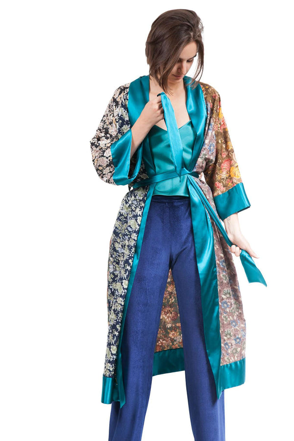 Turquoise Baroque Kimono with Cross Application