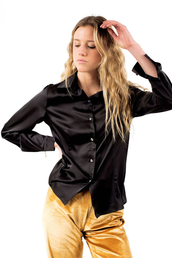 Black Buttons Blouse With Clamp