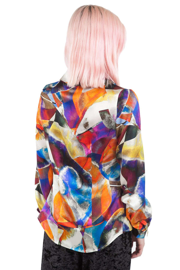 Print Colors 100% Silk Gripper Blouse