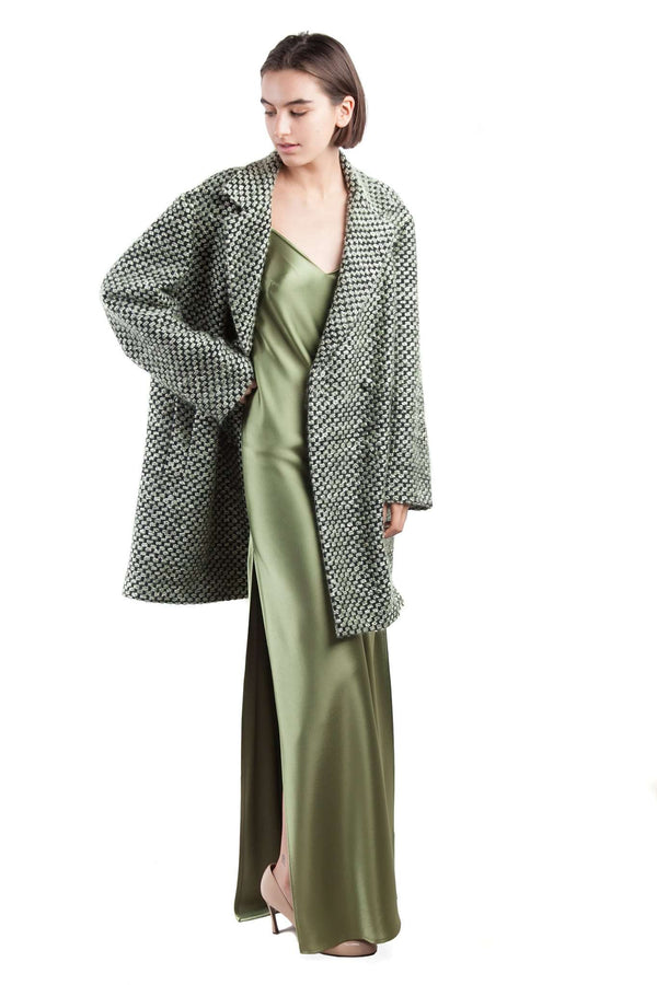 OversizePlaid Black White and Green Coat