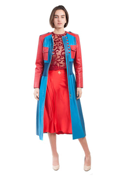Long Leather Red Blue Coat