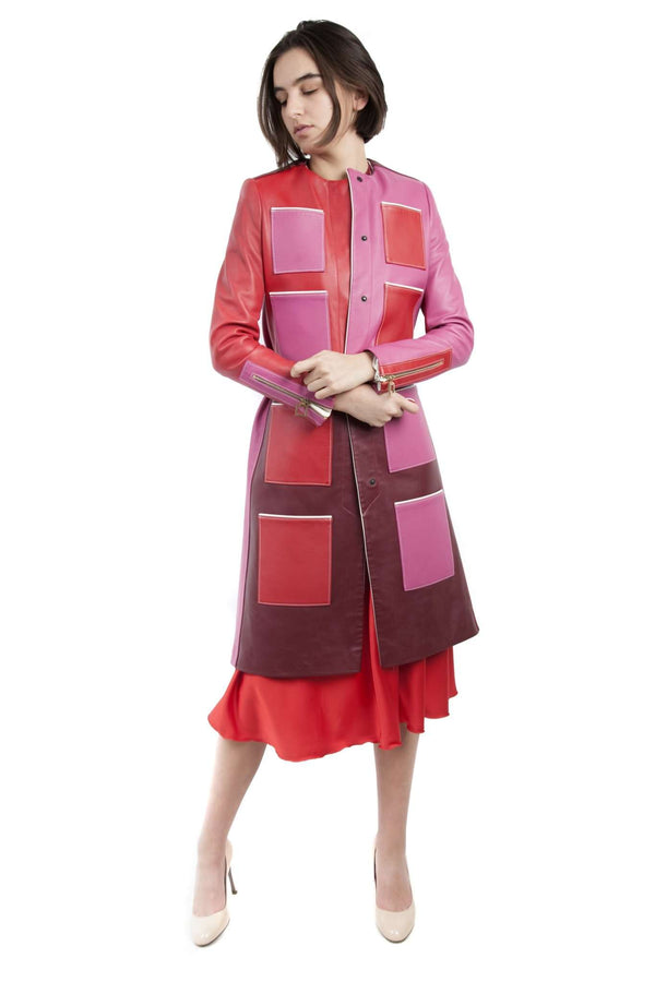 Long Leather Red Fuchsia Coat