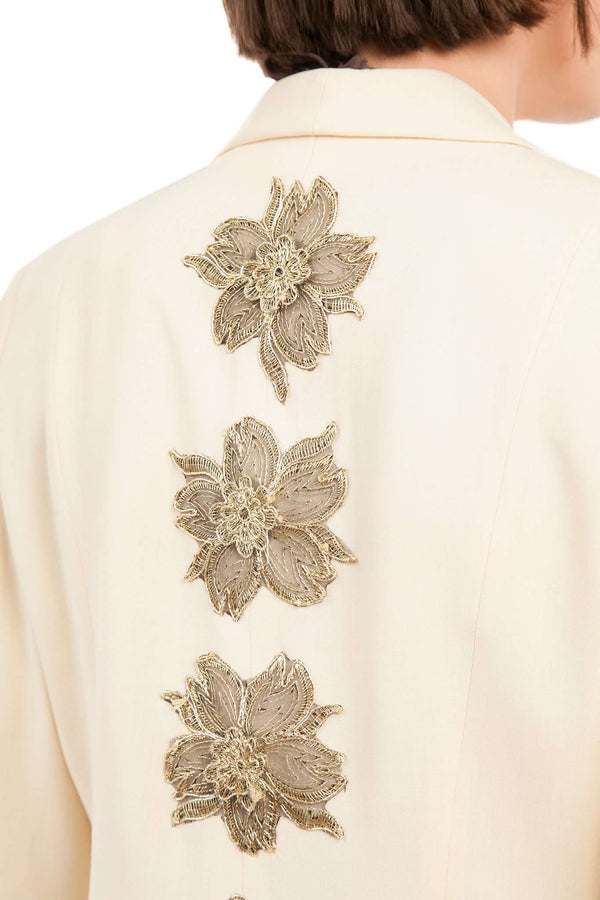 Embroidered Flowers Gold Raw Blazer