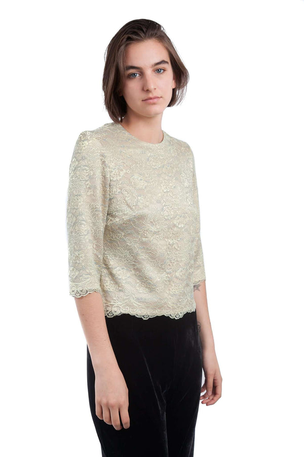 3/4 Sleeves Lace  Gold Blouse