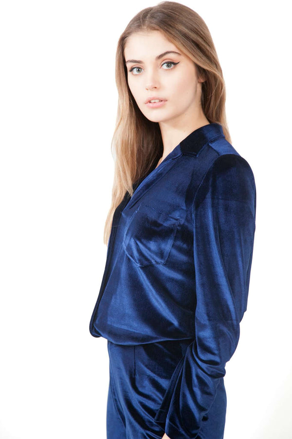 Navy Blue Velvet Blazer Blouse