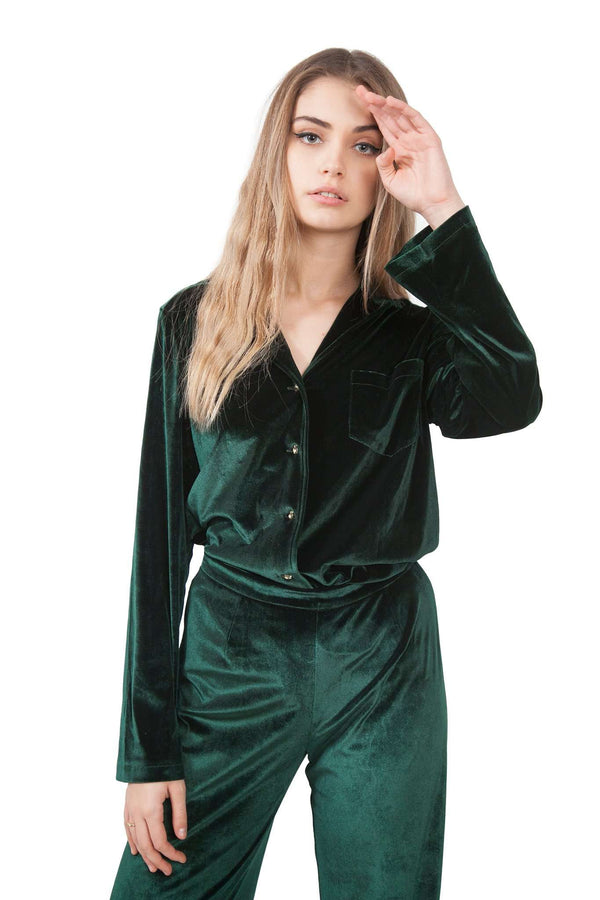 Green Bottle Velvet Blazer Blouse