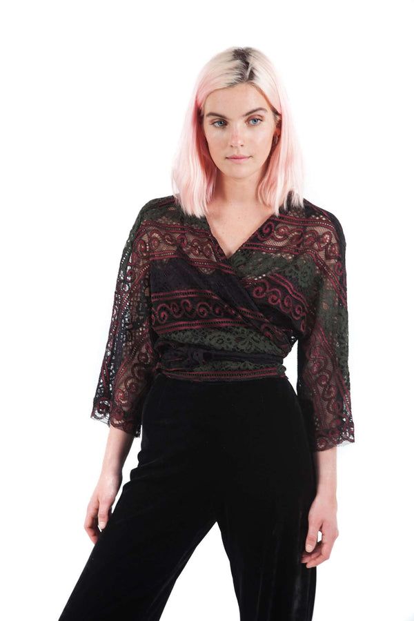 Crossed Lace Red Green Black Blouse