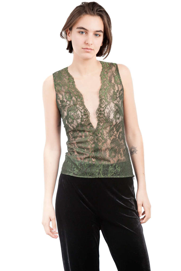 Green Olive Lace Blouse