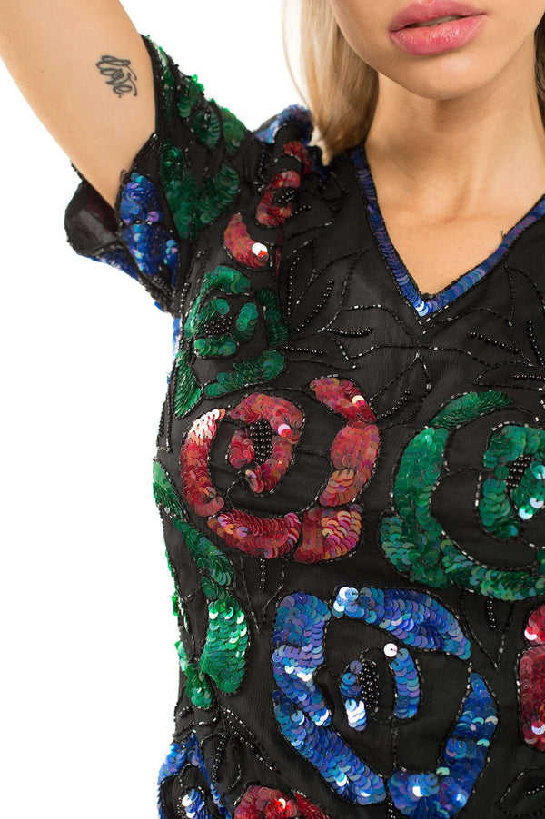 Rhinestones Blue Green Red Blouse