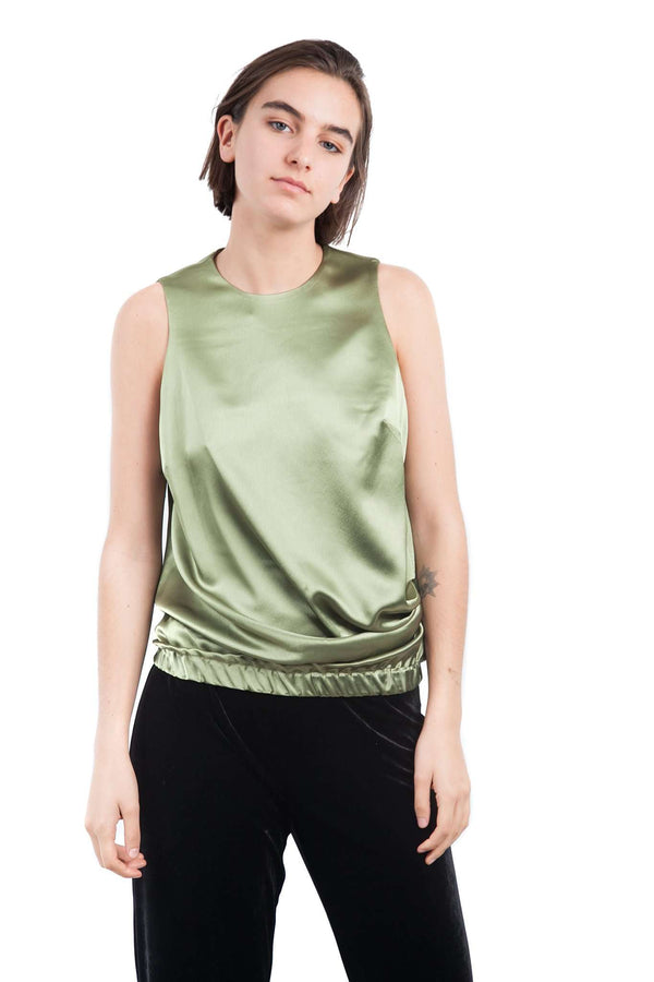 Draped Green Olive Blouse