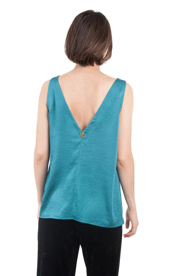 Turquoise Wide Straps Blouse
