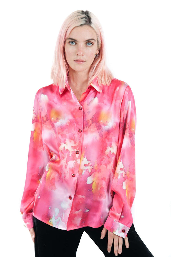 Pink Tie Dye Button Blouse