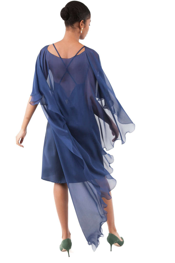 Blue Chiffon Shawl Layer