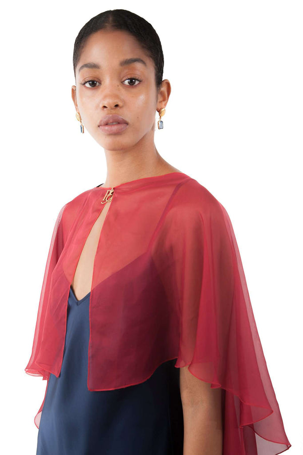 Burgandy Chiffon Shawl Layer
