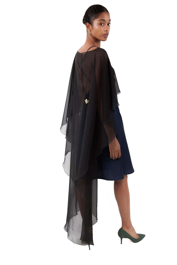 Black Chiffon Shawl Layer