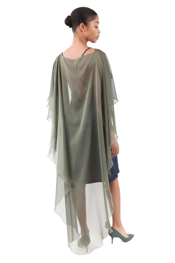 Green Olive Chiffon Shawl Layer