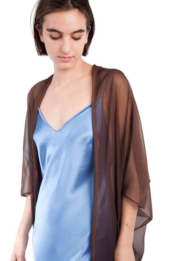 Chocolate Chiffon Butterfly Shawl