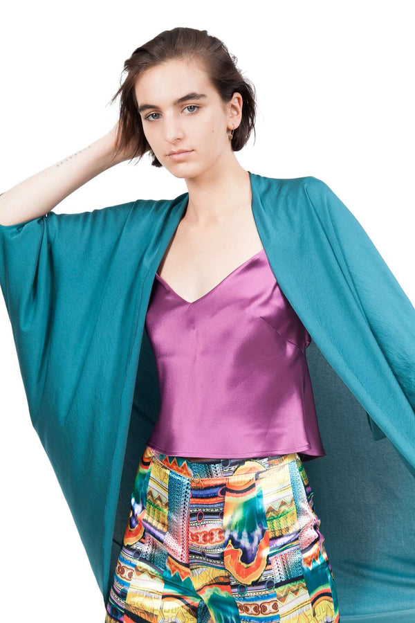 Petroleum Green Chiffon Light Butterfly Shawl