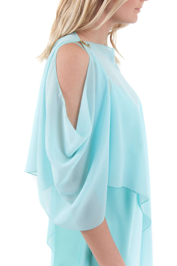 Light Blue Asymmetrical Chiffon Poncho Shawl