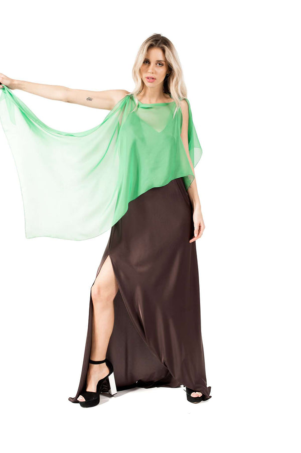 Light Green Asymmetrical Chiffon Poncho Shawl