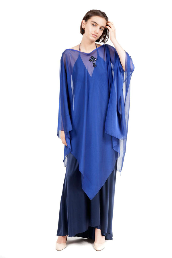 Blue Chiffon Poncho Shawl Cross Application