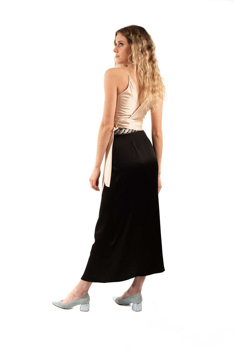 Black Ribbon Embroidered Cocktail Skirt