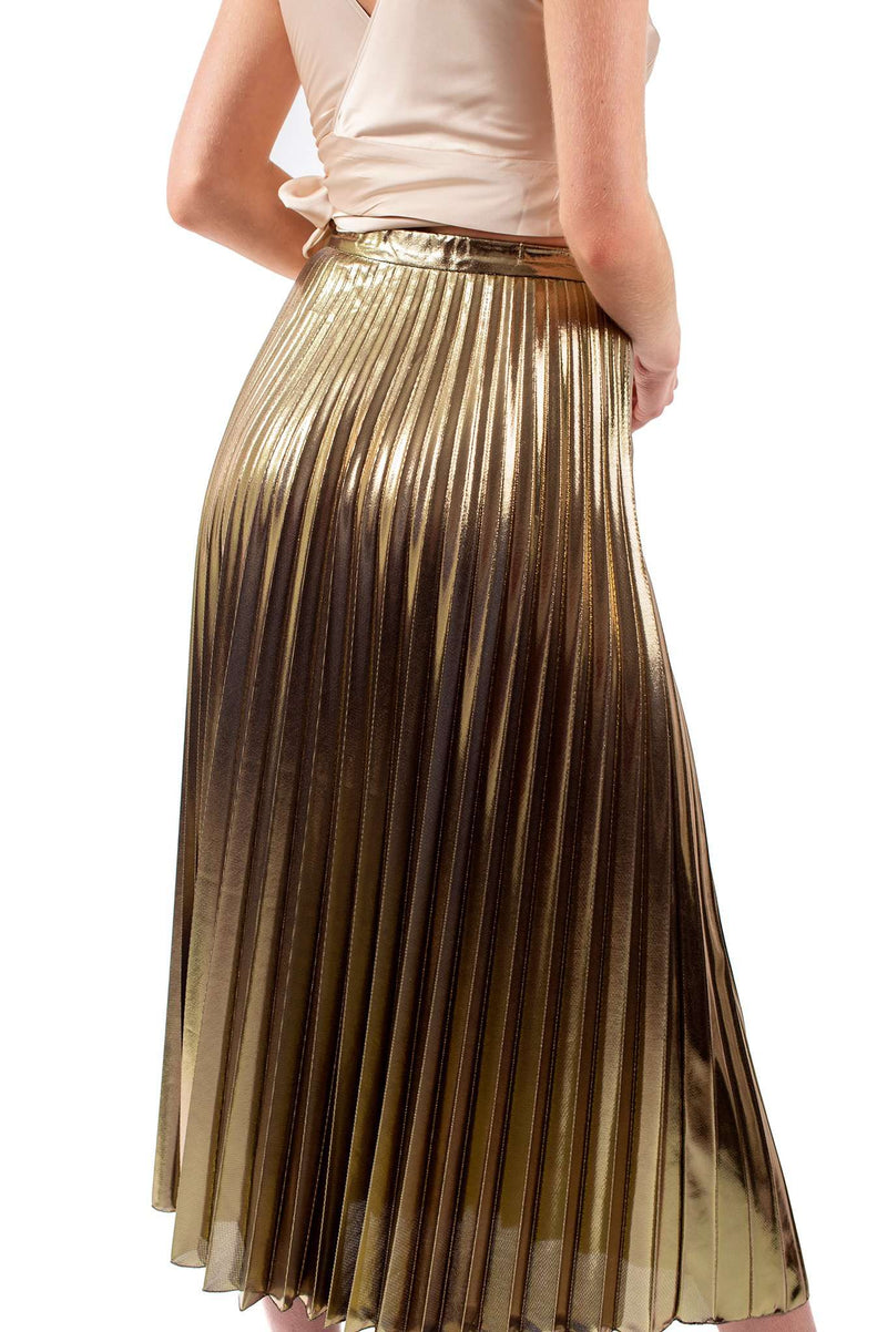 Copper Metallic Close Pleated Skirt