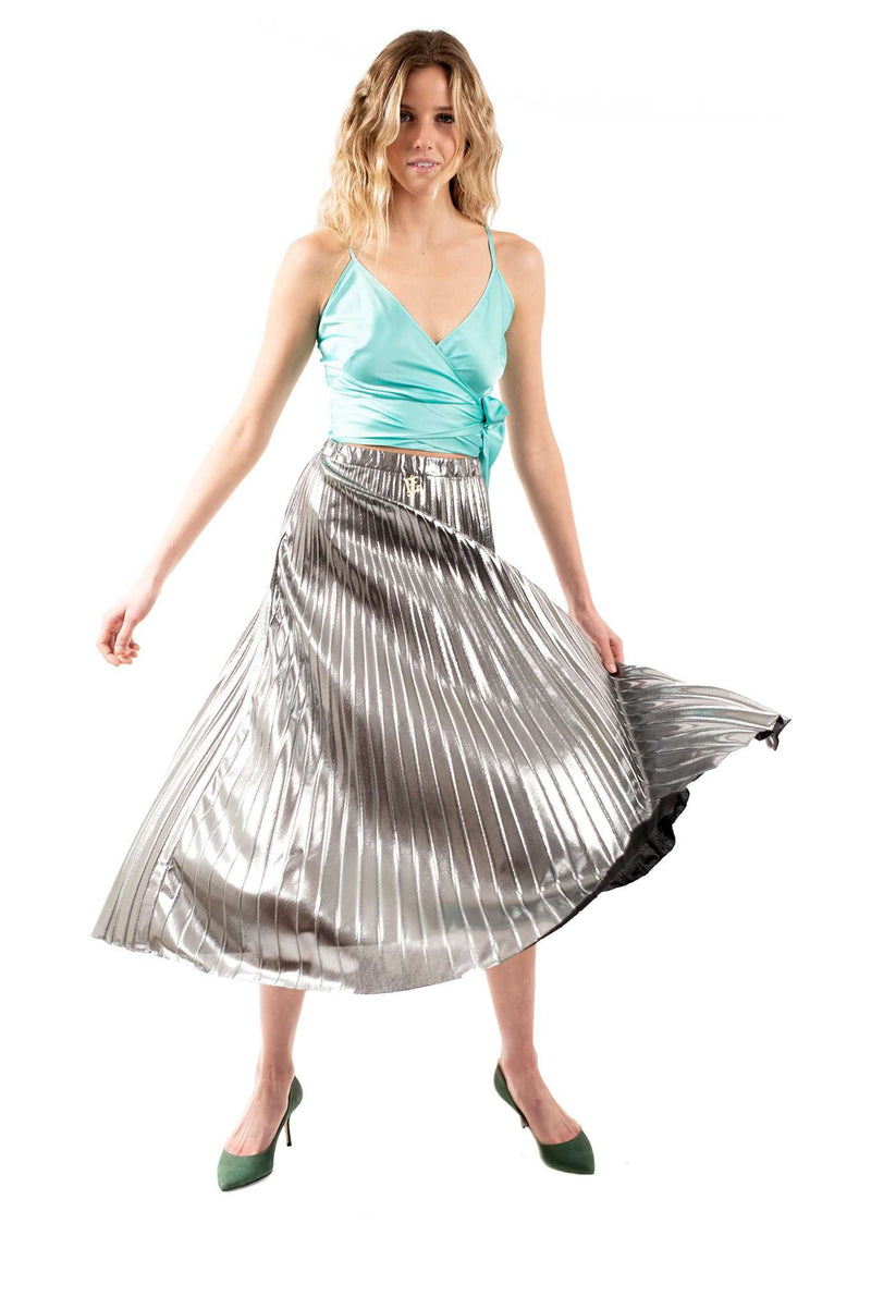 Silver Metallic Close Pleated Skirt