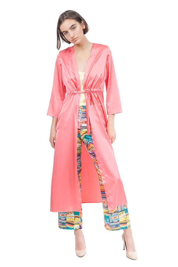 Coral Silky Kimono with Back Application