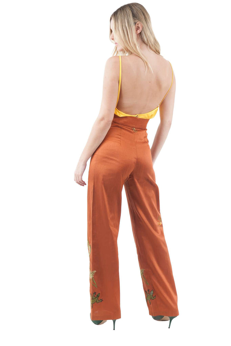 Copper Orange Embroidery Pants