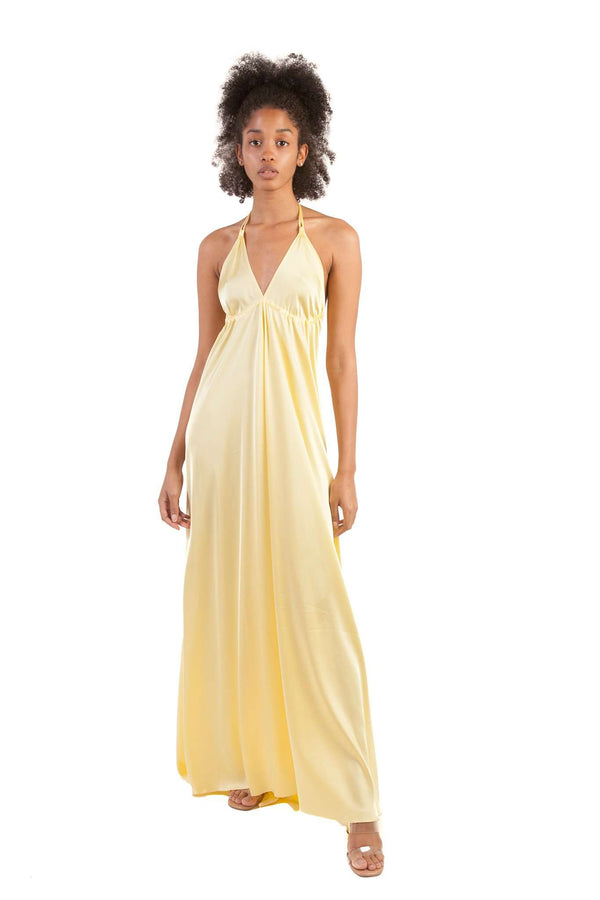 Yellow Pastel Cleavage Lightweight Mooring Dress