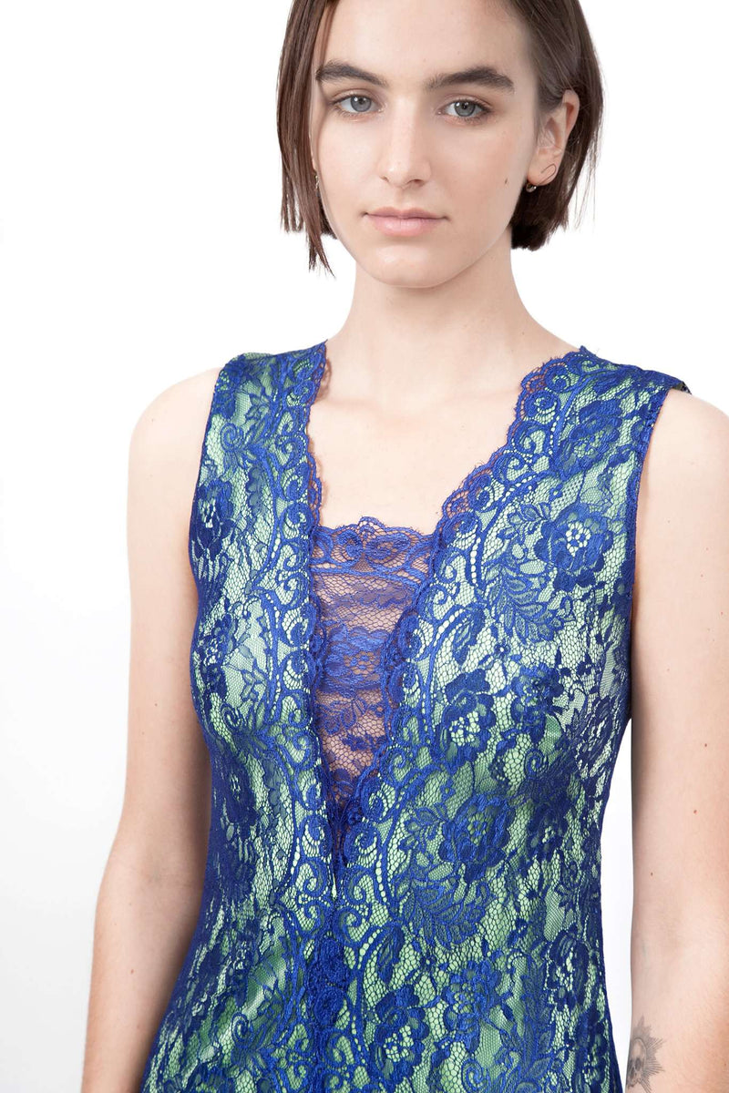 Blue Pistachio Long Lace Dress