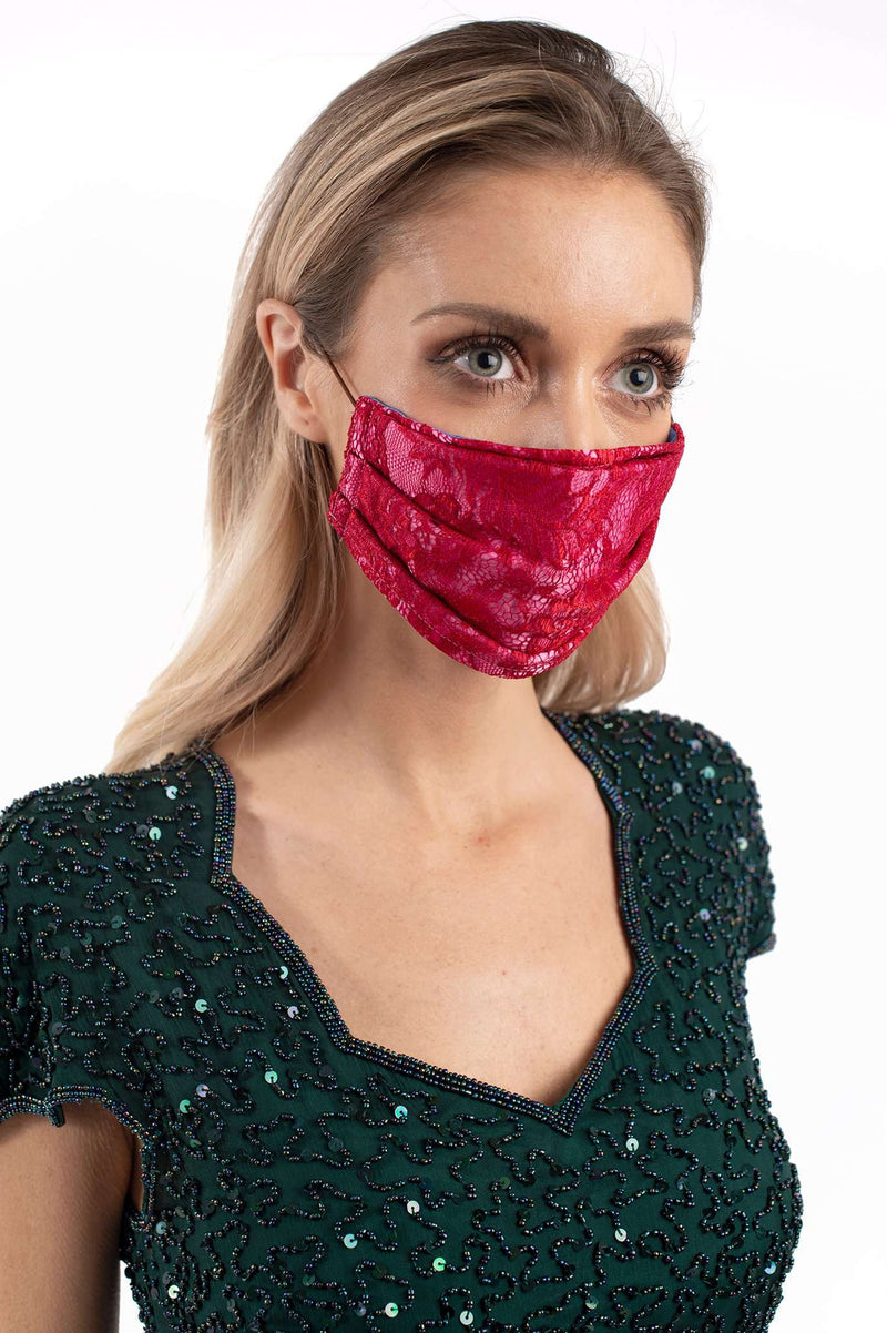 Red Lace Mask Pink Background
