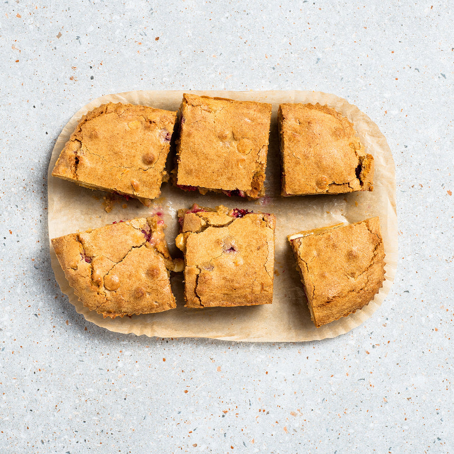 Raspberry & White Chocolate Blondie