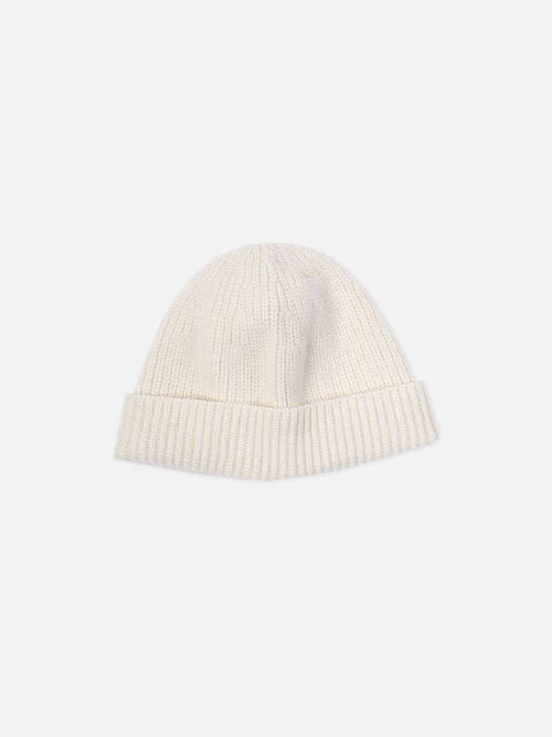 Naval Knitted Beanie in Winter White Merino Wool