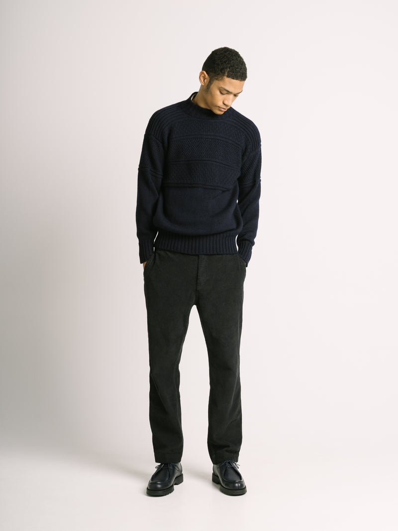 Fife Gansey Knit in Navy 100% Virgin Merino Wool