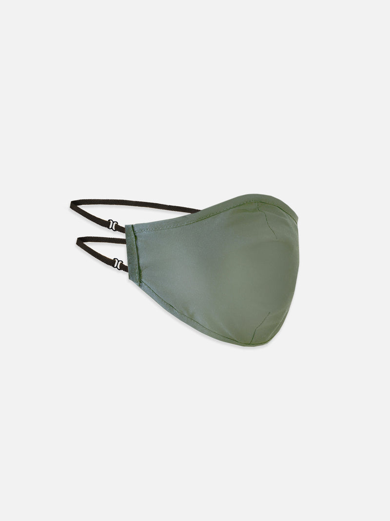 Hallin Face Mask in military green 100% cotton - head straps