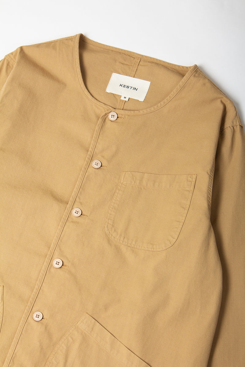 Kestin Neist Ripstop Overshirt in cotton (Sand) collar detail
