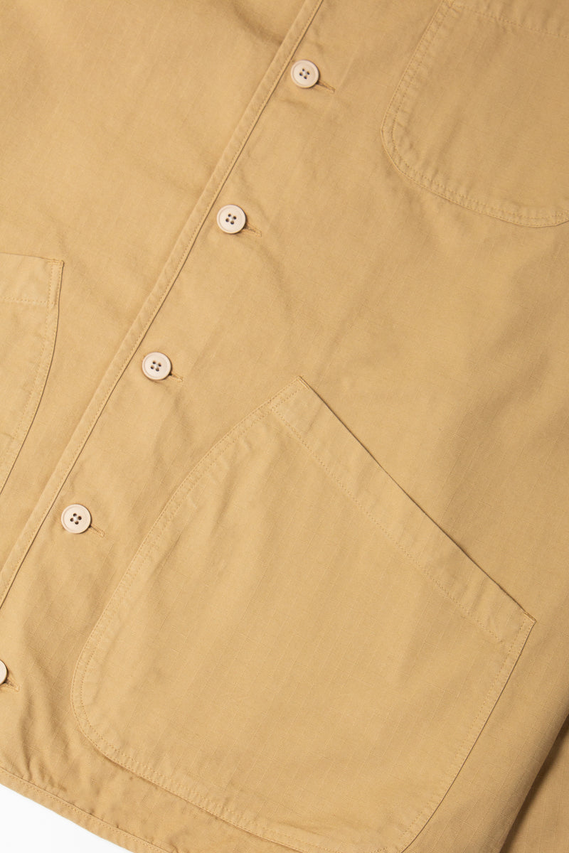 Kestin Neist Ripstop Overshirt in cotton (Sand) pocket detail