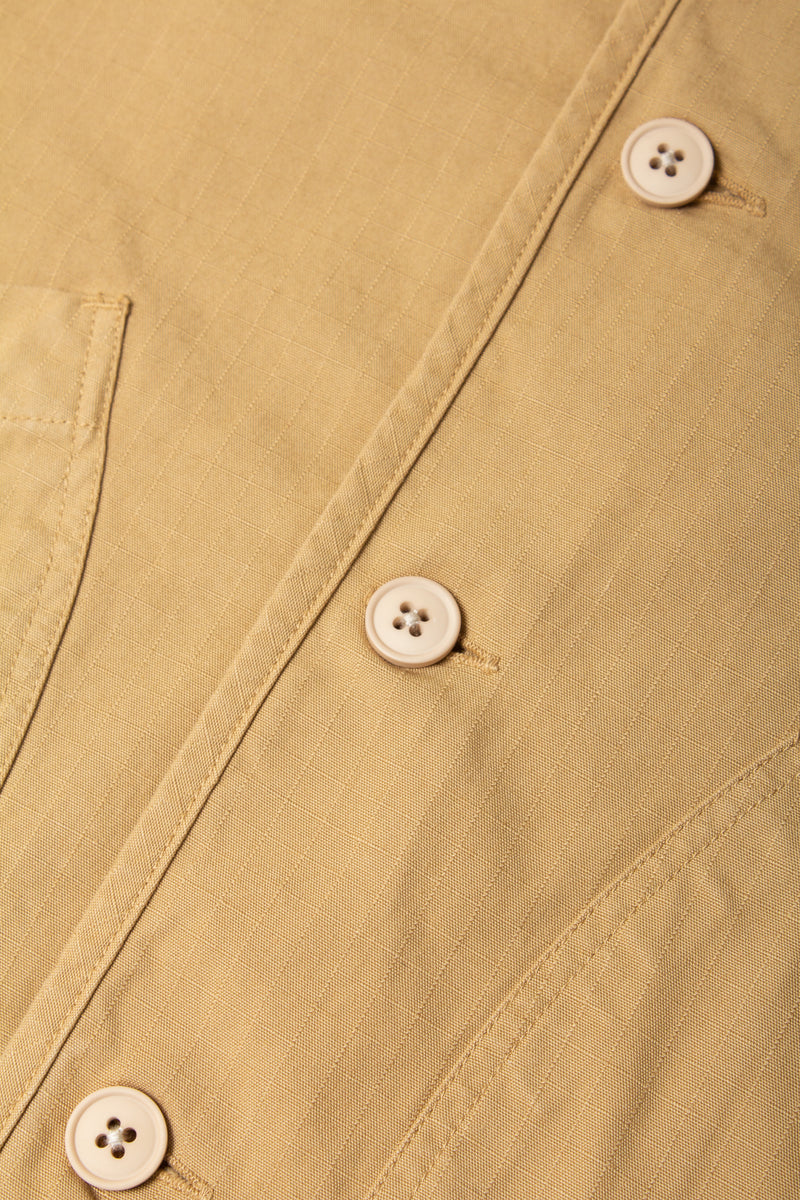 Kestin Neist Ripstop Overshirt in cotton (Sand) fabrics detail
