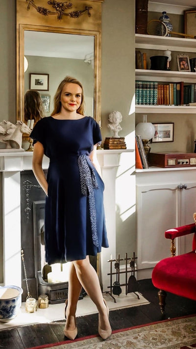 Classic Elizabeth, Navy polka - Navy reversible Knee-length, short sleeves dress Hannah Sophia