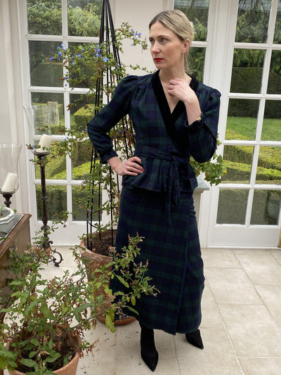 PETITE Black Watch tartan tailored reversible Blouse and skirt two-piece set Hannah Sophia England